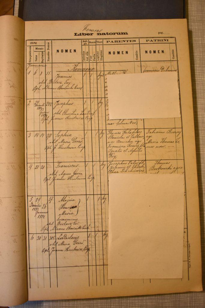 Baptism - 1884 Jan 14th - Zofia Kuta - Full Page - Komarno