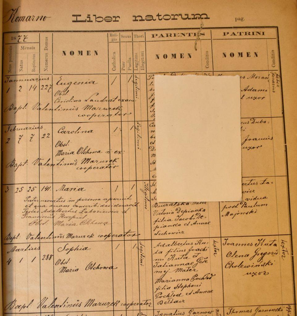 Birth - 1877 Mar 1st - Zofia Kuta - Komarno