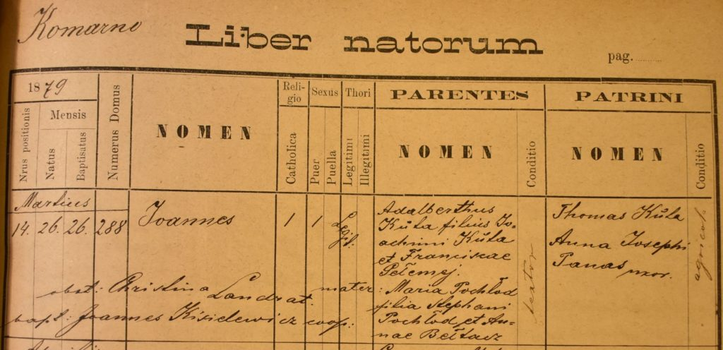 Birth - 1879 Mar 26th - Jan Kuta - Komarno