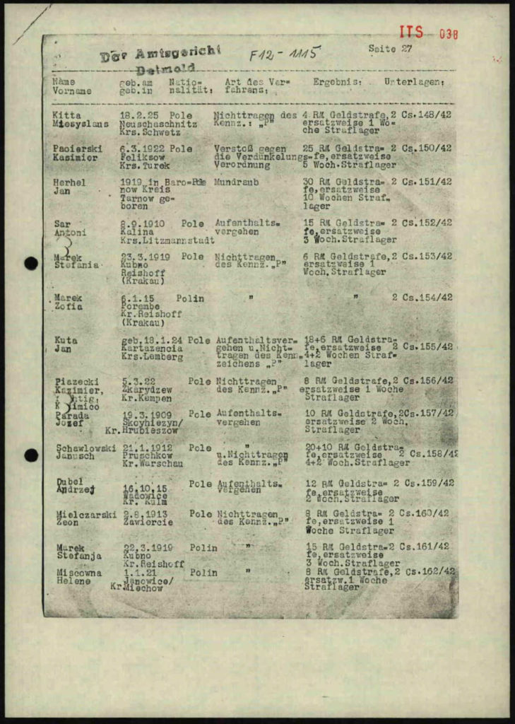 World War 2 - German Transportation Record for Jan Kuta