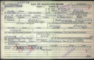 A.E.F. D.P. Registration Record - Post World War 2 - Jan Kuta