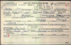 A.E.F. D.P. Registration Record - Post World War 2 - Jan Kuta