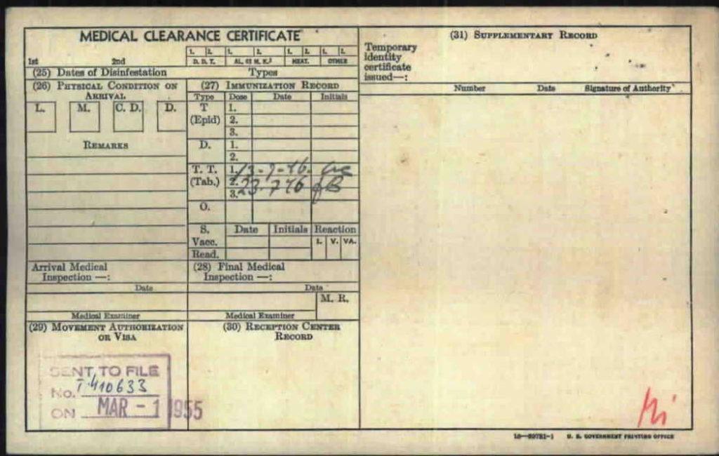 Medical Clearance Certificate Post WW2 Jan Kuta