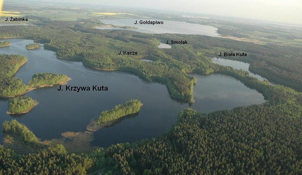 Krzywa Kuta Lake and the surrounding lakes from a bird's eye view